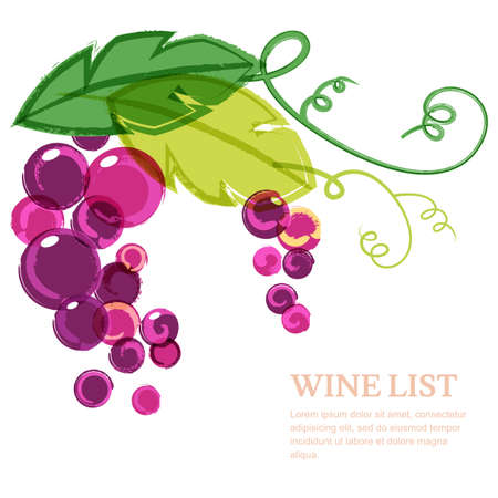 vineyards: Branch of pink grape with green leaves. Abstract vector watercolor background design template with place for text. Concept for wine list, menu, cover, flyer, brochure, poster, banner. Illustration