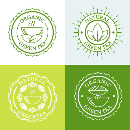 green tea leaves: Green hot tea in mug and tea leaves, natural herbal drink. Set of vector simple linear logo design template. Concept for bar menu, tea shop, cafe, organic product.