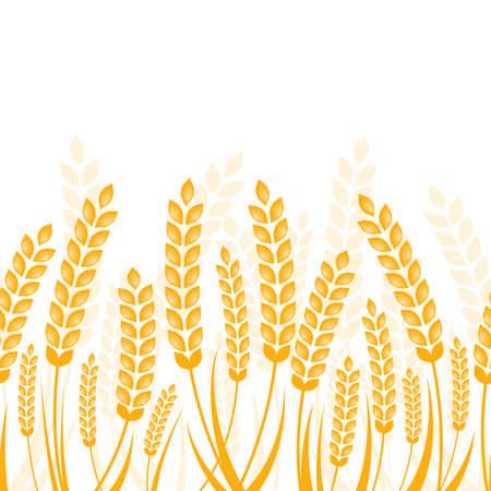 ベクトル熟した麦の穂は金色とのシームレスな水平の背景。オーガニック製品、収穫、穀物、パン屋さん、健康食品の抽象的な概念。
