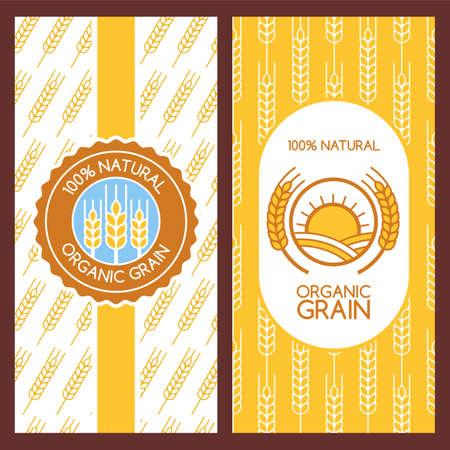 flour: Conjunto de fondos de vector de etiquetado, embalaje, bandera. Patrón sin fisuras con espigas de trigo lineales. Diseño del logotipo plana abstracta. Concepto de productos orgánicos, cosecha, grano, harina, panadería, comida saludable.