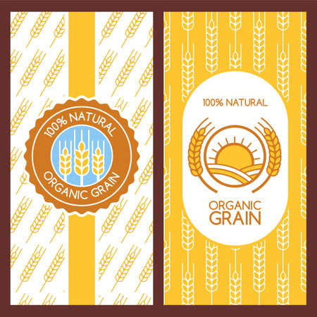 cereals: Set of vector backgrounds for label, package, banner. Seamless pattern with linear wheat ears. Abstract flat logo design. Concept for organic products, harvest, grain, flour, bakery, healthy food.