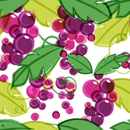 drawing on the fabric: Pink and purple ripe grape vine with green leaves. Abstract vector seamless watercolor background. Concept for wine list, menu, natural organic food, market.