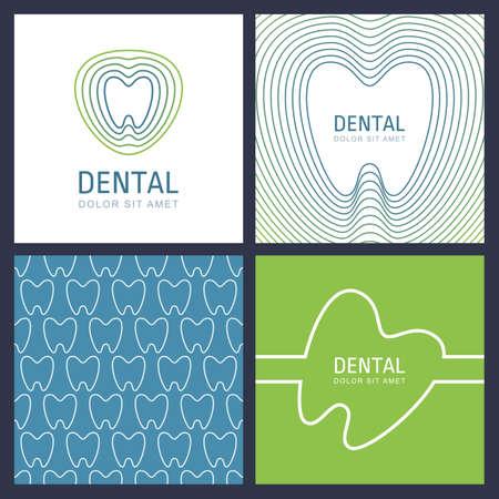 歯科医院と医学の抽象的なトレンディなデザイン コンセプトのセット。ベクトルの線形歯ロゴ、多色のシームレスなパターン、テキストの背景。白