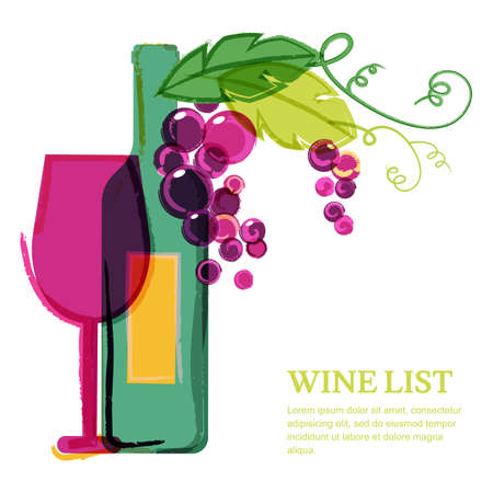 wine label design: Wine bottle, glass, pink grape vine, watercolor illustration. Abstract vector background design template. Concept for wine list, menu, flyer, party, alcohol drinks, celebration holidays.