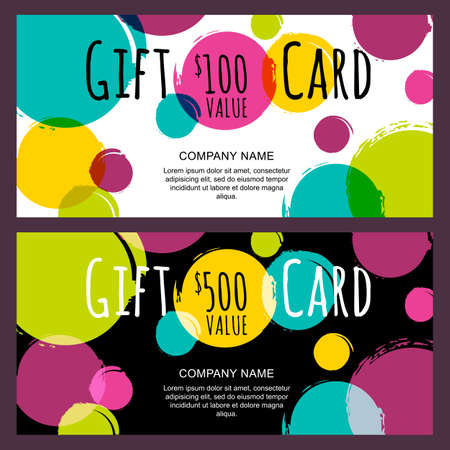 gift: Vector gift card, abstract watercolor blots, stains, splashes background. Trendy colorful pattern. Concept for boutique, fashion shop, voucher, business template, beauty salon, flyer, banner design.