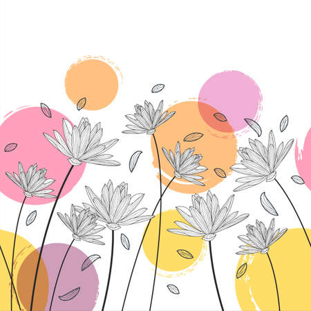 spring season: Vector floral seamless horizontal pattern. Black and white background with hand drawn lotus, lily flowers and colorful watercolor blots. Design for beauty salon, spa, flyer, invitation, banner design.