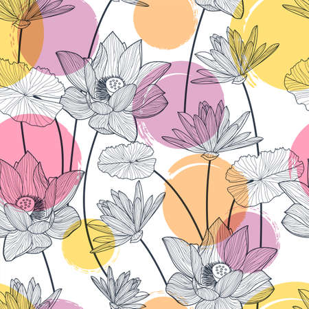 lotus flower: Vector seamless pattern with beautiful lotus flower and colorful watercolor blots. Black and white floral line illustration background.
