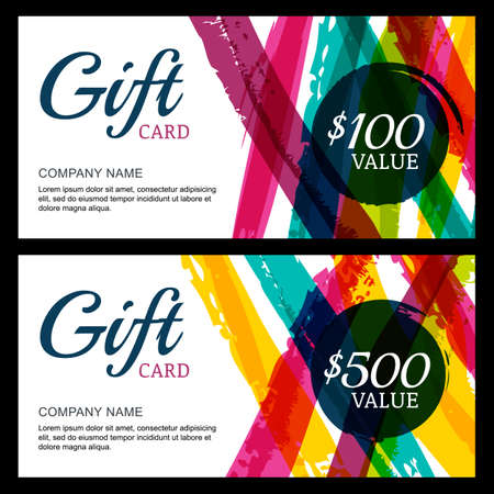 Vector gift card, abstract watercolor stripes and splashes background. Trendy colorful pattern. Concept for boutique, fashion shop, voucher, business template, beauty salon, flyer, banner design.