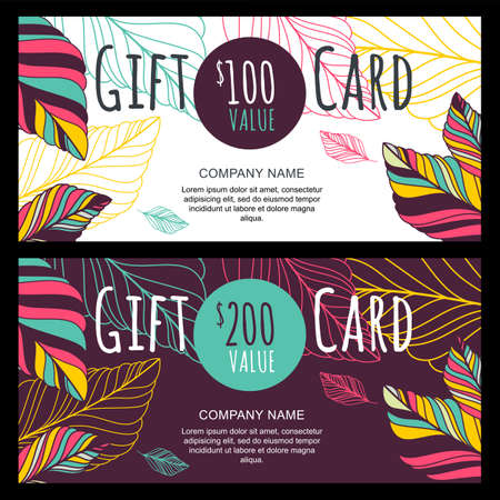 gift: Vector gift voucher, card template with multicolor hand drawn autumn leaves background. Doodle decorative illustration. Concept for boutique, shop, fashion, beauty salon, flyer, banner design.