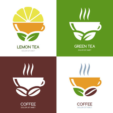 Set of vector green tea and hot coffee flat logo icons. Abstract concept for bar menu, coffee or tea shop, cafe, organic product.