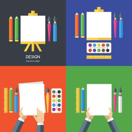 segurar: Jogo das ilustrações planas de ferramentas, materiais de arte de design, pintura, criatividade. Ícone do vetor conjunto de caneta, lápis, pincel, folha em branco de papel branco na armação. Conceito para artigos de papelaria, escola. Ilustração