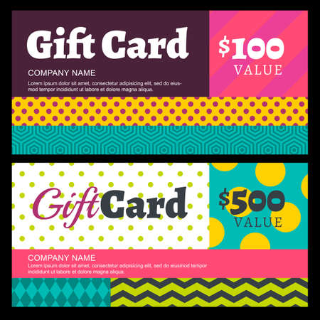 accessorize: Vector creative gift card or voucher background template. Multicolor color blocks geometric pattern. Concept for boutique, fashion shop, jewelry, accessorize, restaurant, flyer, banner design.