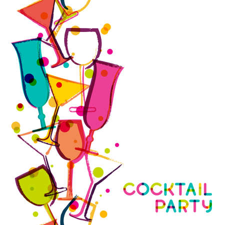 Abstract multicolor cocktail glasses. Watercolor seamless vertical vector white background. Creative concept for bar menu, party, alcohol drinks, holidays, flyer, brochure, poster, banner. Vectores