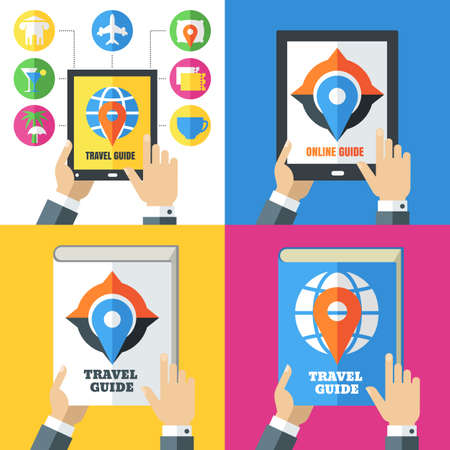 travel guide: Set of flat abstract travel icons and backgrounds. Design concept for travel guide, mobile apps, planning vacation, tourism, online booking tickets, hotels. Vector colorful illustration. Illustration