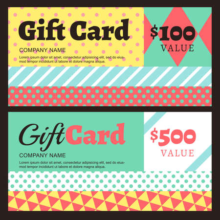 gift card: Vector gift card or voucher template with geometric pattern. Color blocks background. Concept for boutique, fashion shop, jewelry, accessorize, restaurant, flyer, banner design.