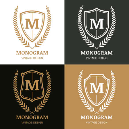 Set of vector vintage design template. Monogram, shield and laurel wreath. Decorative frame background. Concept for boutique, hotel, restaurant, law and legal business, heraldic emblem. Illustration