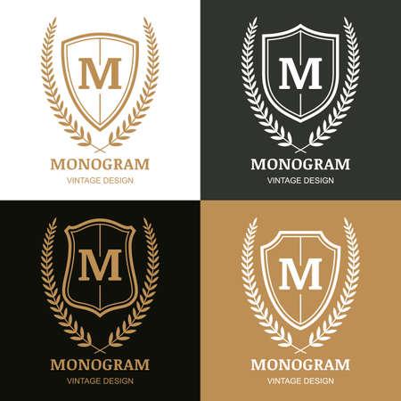 Set of vector vintage design template. Monogram, shield and laurel wreath. Decorative frame background. Concept for boutique, hotel, restaurant, law and legal business, heraldic emblem. Illustration