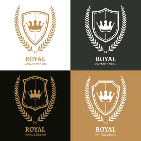 boutique hotel: Set of vector vintage design template. Crown, shield and laurel wreath. Decorative frame background. Concept for boutique, hotel, restaurant, law and legal business, heraldic emblem.