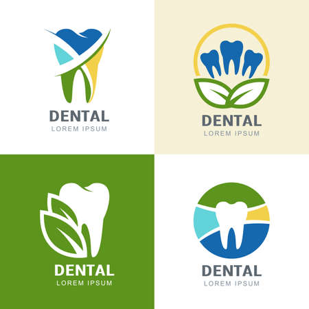 Set of vector icons design. Multicolor tooth and green leaves illustration. Creative concept for dental clinic, dentist and medicine.