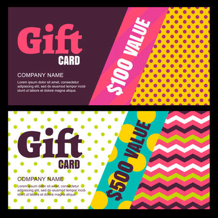 accessorize: Vector design template of gift card or voucher. Color blocks background, geometric pattern. Concept for boutique, fashion shop, jewelry, accessorize, restaurant, flyer, banner design.
