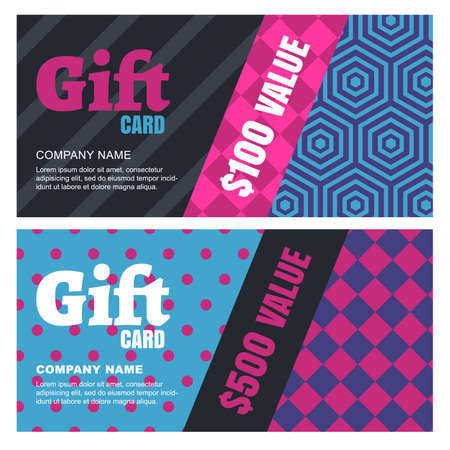accessorize: Creative design for gift card or voucher. Multicolor vector geometric pattern. Concept for boutique, fashion shop, jewelry, accessorize, restaurant, flyer, banner design. Illustration