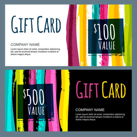 Vector template for gift card with abstract watercolor stripes background. Trendy colorful pattern. Concept for boutique, fashion shop, voucher, business template, beauty salon, flyer, banner design. Ilustracja