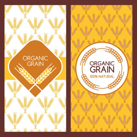 produits c�r�aliers: Set of vector backgrounds for banner, label, package template. Wheat ears seamless pattern. Abstract flat   design. Concept for organic products, harvest, grain, flour, bakery, healthy food.