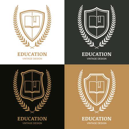 벡터 빈티지 디자인 서식 파일의 집합입니다. 책, 방패와 월계관 선형 상징. 학교, 대학, 연구, 교육, 법률 및 법적 비즈니스, 전 령 상징에 대 한 개념입