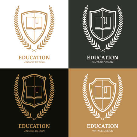 law library: Set of vector vintage   design template. Open book, shield and laurel wreath linear symbol. Concept for school, university, study, education, law and legal business, heraldic emblem.