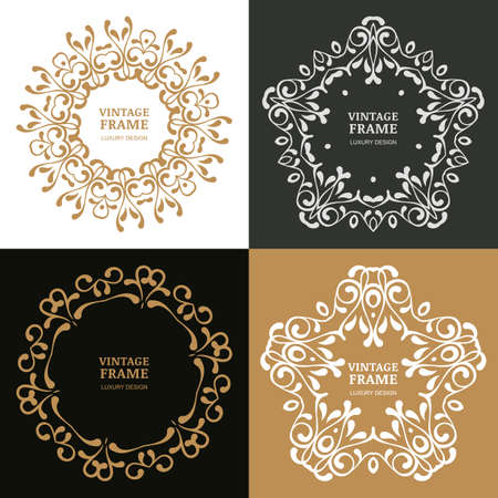 jewelry: Set of vector vintage flourish frames. Decorative background. Design concept for boutique, hotel, restaurant, floral shop, jewelry, fashion, heraldic emblem.