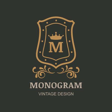 boutique hotel: Crown, shield and flourish vintage ornament, vector  . Decorative golden frame background. Design for boutique, hotel, restaurant, jewelry, fashion, heraldic, emblem.