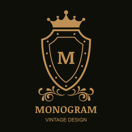shield set: Vector   template, crown, shield and flourish vintage ornament. Decorative golden frame background. Design for boutique, hotel, restaurant, jewelry, fashion, heraldic, emblem.
