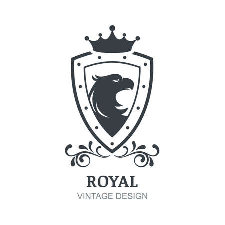 eagle shield and laurel wreath: Vector vintage   design template. Eagle, crown, shield and laurel wreath symbol. Luxury emblem for boutique, hotel, restaurant, heraldic.