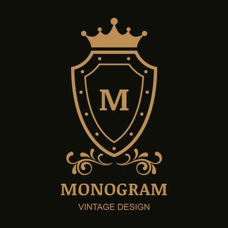escudo: Modelo del vector, corona, escudo y florecer ornamento de la vendimia. Fondo decorativo de marco dorado. Diseño para el boutique, hotel, restaurante, joyería, moda, heráldica, emblema.