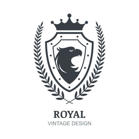 boutique hotel: Vector  template. Eagle, crown, shield and laurel branch symbol. Luxury decorative emblem for boutique, hotel, restaurant, heraldic. Vectores