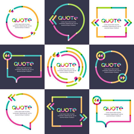text: Vector set of quote forms template. Multicolor trendy background. Blank colorful speech bubbles. Business template for text information and print design.