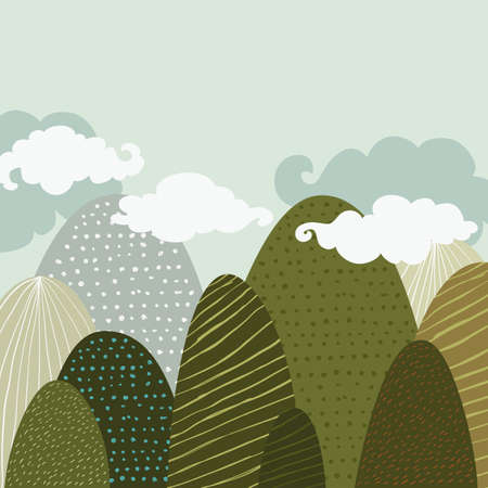 hand illustration: Vector doodle hand drawn illustration of beautiful landscape, textured green mountains and clouds. Creative nature background in pastel colors with place for text.