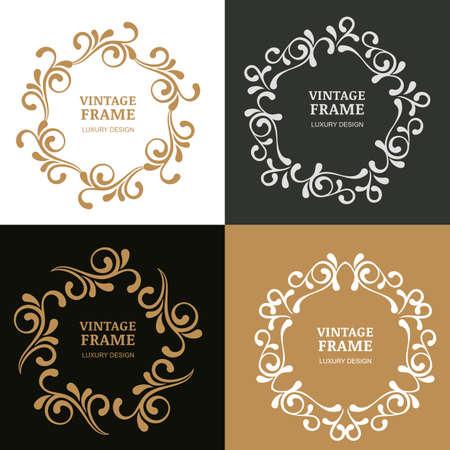 boutique hotel: Conjunto de marcos de vectores florecer vintage. Fondo ornamental. Concepto de diseño de hotel boutique, restaurante, tienda de flores, joyería, moda, emblema heráldico.