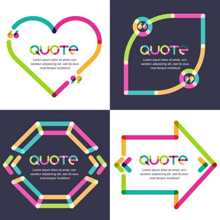 Vector set van citaat vormt template. Multicolor trendy achtergrond. Lege kleurrijke tekstballonnen in vorm van hart, pijl, diamanten en blad. Zakelijke sjabloon voor tekst informatie en print design.
