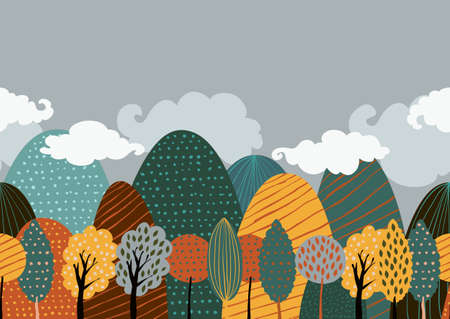 yellow landscape: Vector seamless doodle background with textured mountains and yellow trees. Creative nature hand drawn illustration of beautiful autumn landscape. Illustration
