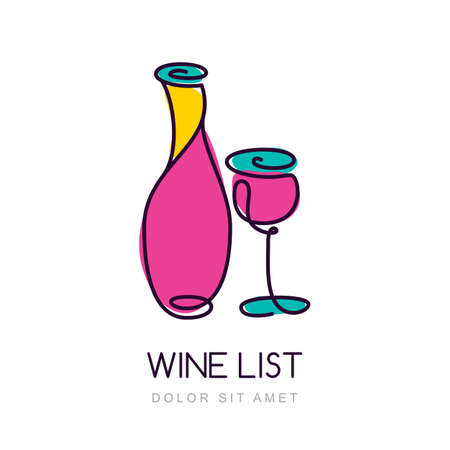 bottle wine: Vector illustration of colorful wine bottle and glass.   design template. Trendy concept for wine list, bar menu, alcohol drinks. Illustration