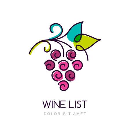 vid: Vector colorido de uva plantilla de dise�o de la vid. Concepto de productos org�nicos, cosecha, comida sana, carta de vinos, men�.