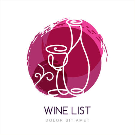 drink bottle: Vector illustration of linear wine bottle and glass in watercolor circle splash.   design template. Concept for wine list, bar menu, alcohol drinks.