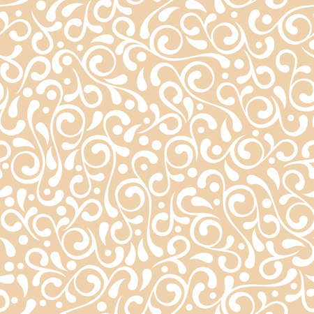 swirl backgrounds: Vector seamless pastel beige flourish pattern. Vintage decorative background. Floral design for fashion print, backgrounds, greeting cards, holiday package and wrapping.
