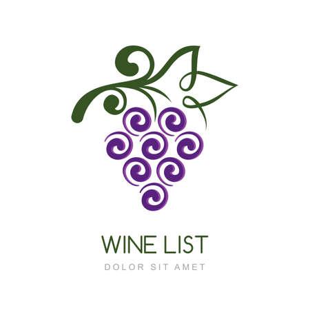 VID: Vector lineal de uva plantilla de diseño de la vid. Concepto de productos orgánicos, cosecha, comida sana, carta de vinos, menú.