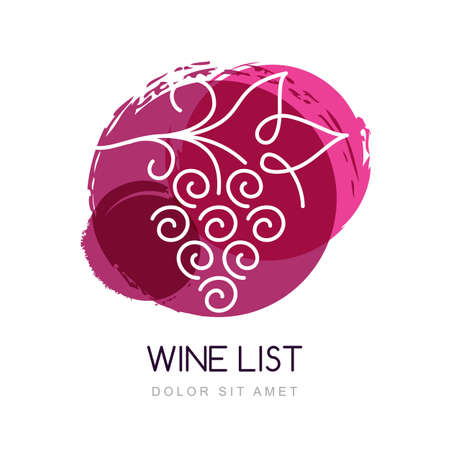 wine label design: Vector illustration of linear grape vine in watercolor circle splash.   design template. Concept for organic products, harvest, healthy food, wine list, menu.
