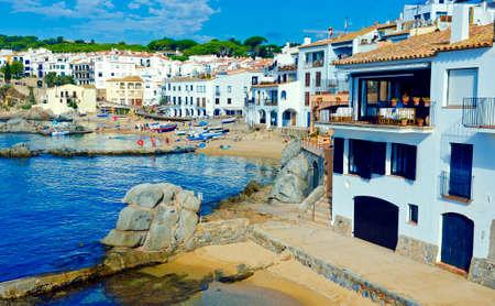 coastal: White houses on seaside. Coastal town Calella de Palafrugell on the Costa Brava, region of northeastern Catalonia, Spain. Stock Photo