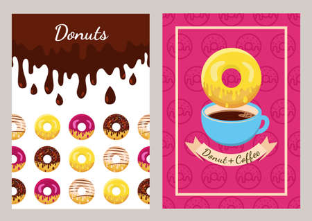 unhealthy food: Set of design template with coffee and donuts pattern. Seamless fast food background. Concept for cafe, restaurant, breakfast menu, desserts, bakery. Flyer, poster, banner, packaging design.