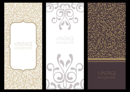 Set of flourish template. Floral vintage seamless pattern and background. Decorative backdrop. Design concept for boutique, beauty salon, spa, fashion, flyer, invitation, card. Illustration