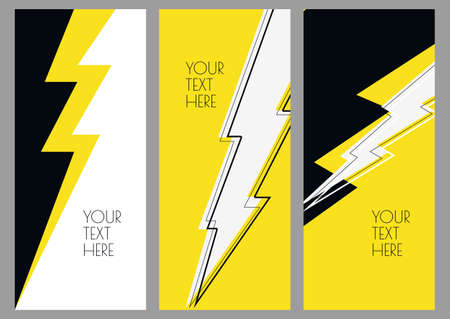 poster backgrounds: Set of abstract backgrounds with lightning. Business template in white, yellow, black colors. Design concept for brochure cover, flyer, poster, energy and electricity theme.